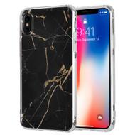 Marble IMD Soft TPU Glitter Case for iPhone X - Black