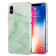 Marble IMD Soft TPU Glitter Case for iPhone X - Green
