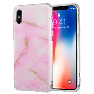 Marble IMD Soft TPU Glitter Case for iPhone X - Pink