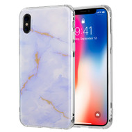 Marble IMD Soft TPU Glitter Case for iPhone X - Purple