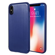 Satin Design Soft TPU Case for iPhone X - Navy Blue