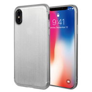 Satin Design Soft TPU Case for iPhone X - Silver