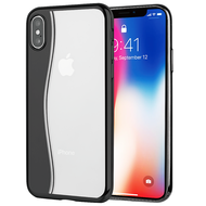 Skyfall Wave Electroplating Clear Transparent TPU Soft Case for iPhone X - Black
