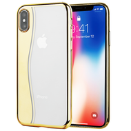Skyfall Wave Electroplating Clear Transparent TPU Soft Case for iPhone X - Gold