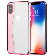Skyfall Wave Electroplating Clear Transparent TPU Soft Case for iPhone X - Rose Gold