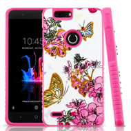 Tough Anti-Shock Hybrid Protection Case for ZTE Blade Z Max - Butterfly and Flowers