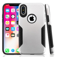 *Sale* Hybrid Armor Case with Carbon Fiber Accents for iPhone X - Silver