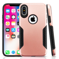 *Sale* Hybrid Armor Case with Carbon Fiber Accents for iPhone X - Rose Gold