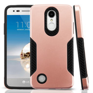 *Sale* Hybrid Armor Case with Carbon Fiber Accents for LG Aristo / Fortune / K8 (2017) / Phoenix 3 - Rose Gold