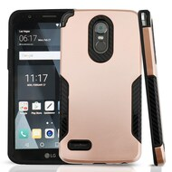 *Sale* Hybrid Armor Case with Carbon Fiber Accents for LG Stylo 3 / Stylo 3 Plus - Rose Gold
