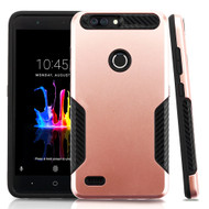 *Sale* Hybrid Armor Case with Carbon Fiber Accents for ZTE Blade Z Max - Rose Gold