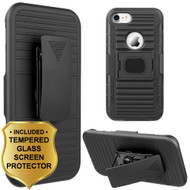 Mag-Defender Hybrid Armor Case with Holster and Tempered Glass Screen Protector for iPhone 8 / 7 - Black