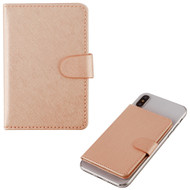 Adhesive Dual Card Slot Flip Wallet - Rose Gold