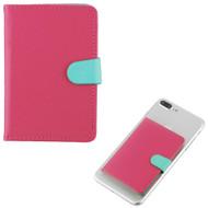 Adhesive Dual Card Slot Flip Wallet - Hot Pink