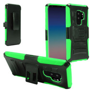 Advanced Armor Hybrid Kickstand Case with Holster for Samsung Galaxy S9 Plus - Black Green