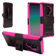 Advanced Armor Hybrid Kickstand Case with Holster for Samsung Galaxy S9 Plus - Black Hot Pink