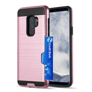 ID Card Slot Hybrid Case for Samsung Galaxy S9 Plus - Rose Gold