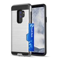 ID Card Slot Hybrid Case for Samsung Galaxy S9 Plus - Silver