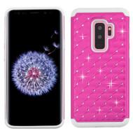 TotalDefense Diamond Hybrid Case for Samsung Galaxy S9 Plus - Hot Pink White