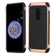 Electroplated Tough Hybrid Case with Leather Backing for Samsung Galaxy S9 Plus - Black
