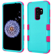 Military Grade Certified TUFF Hybrid Armor Case for Samsung Galaxy S9 Plus - Teal Green Electric Pink
