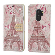 Luxury Bling Portfolio Leather Wallet Case for Samsung Galaxy S9 Plus - Eiffel Tower
