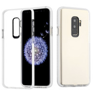 Crystal Clear Transparent TPU Case with Bumper Reinforcement for Samsung Galaxy S9 Plus - White