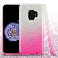 Full Glitter Hybrid Protective Case for Samsung Galaxy S9 - Gradient Hot Pink