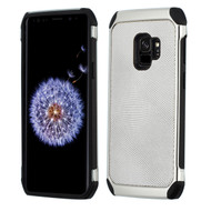 Chrome Tough Anti-Shock Hybrid Case with Leather Backing for Samsung Galaxy S9 - Silver
