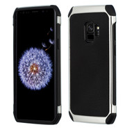 Chrome Tough Anti-Shock Hybrid Case with Leather Backing for Samsung Galaxy S9 - Black