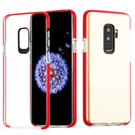 Crystal Clear Transparent TPU Case with Bumper Reinforcement for Samsung Galaxy S9 - Red