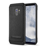 Tough Anti-Shock Hybrid Case with Kickstand for Samsung Galaxy S9 - Carbon Fiber