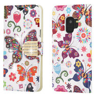 Luxury Bling Portfolio Leather Wallet Case for Samsung Galaxy S9 - Butterfly Wonderland
