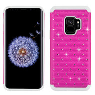 TotalDefense Diamond Hybrid Case for Samsung Galaxy S9 - Hot Pink White