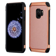 Electroplated Tough Hybrid Case with Leather Backing for Samsung Galaxy S9 - Rose Gold
