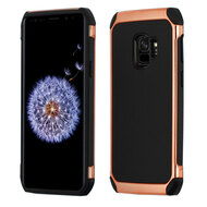 Electroplated Tough Hybrid Case with Leather Backing for Samsung Galaxy S9 - Black
