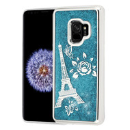 Electroplating Quicksand Glitter Transparent Case for Samsung Galaxy S9 - Eiffel Tower Silver
