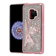 Electroplating Quicksand Glitter Transparent Case for Samsung Galaxy S9 - Eiffel Tower Rose Gold