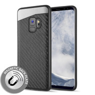 Carbon Metallic Luxury Fusion Case with Magnetic Back Plate for Samsung Galaxy S9 - Black