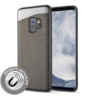*Sale* Carbon Metallic Luxury Fusion Case with Magnetic Back Plate for Samsung Galaxy S9 - Grey
