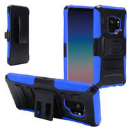 Advanced Armor Hybrid Kickstand Case with Holster for Samsung Galaxy S9 - Black Blue