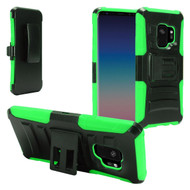 Advanced Armor Hybrid Kickstand Case with Holster for Samsung Galaxy S9 - Black Green