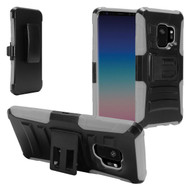 Advanced Armor Hybrid Kickstand Case with Holster for Samsung Galaxy S9 - Black Grey