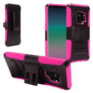 Advanced Armor Hybrid Kickstand Case with Holster for Samsung Galaxy S9 - Black Hot Pink