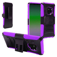 Advanced Armor Hybrid Kickstand Case with Holster for Samsung Galaxy S9 - Black Purple