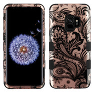 Military Grade Certified TUFF Image Hybrid Armor Case for Samsung Galaxy S9 - Phoenix Flower Rose Gold