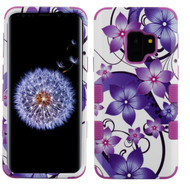 Military Grade Certified TUFF Image Hybrid Armor Case for Samsung Galaxy S9 - Purple Hibiscus Flower Romance
