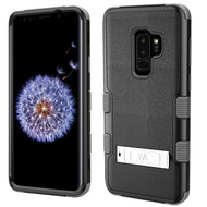 Military Grade Certified TUFF Hybrid Armor Case with Stand for Samsung Galaxy S9 Plus - Black