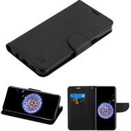 Diary Leather Wallet Case for Samsung Galaxy S9 Plus - Black