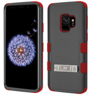 Military Grade Certified TUFF Hybrid Armor Case with Stand for Samsung Galaxy S9 - Black Red